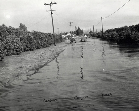 Carbon Canyon Crossing Euclid Ave., West Anaheim January 1952